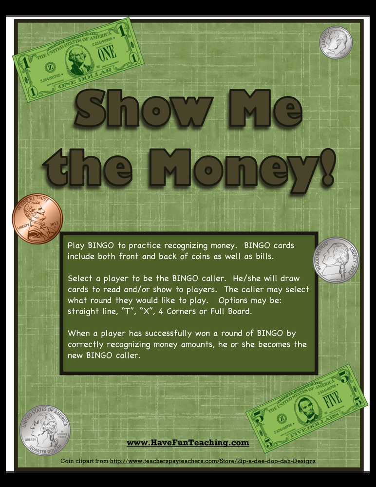 money recognition activity