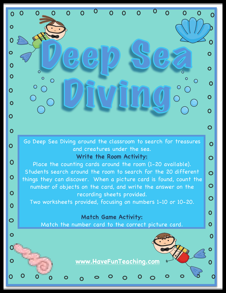 Deep Sea Diving Numbers Recognition Activity | Have Fun Teaching