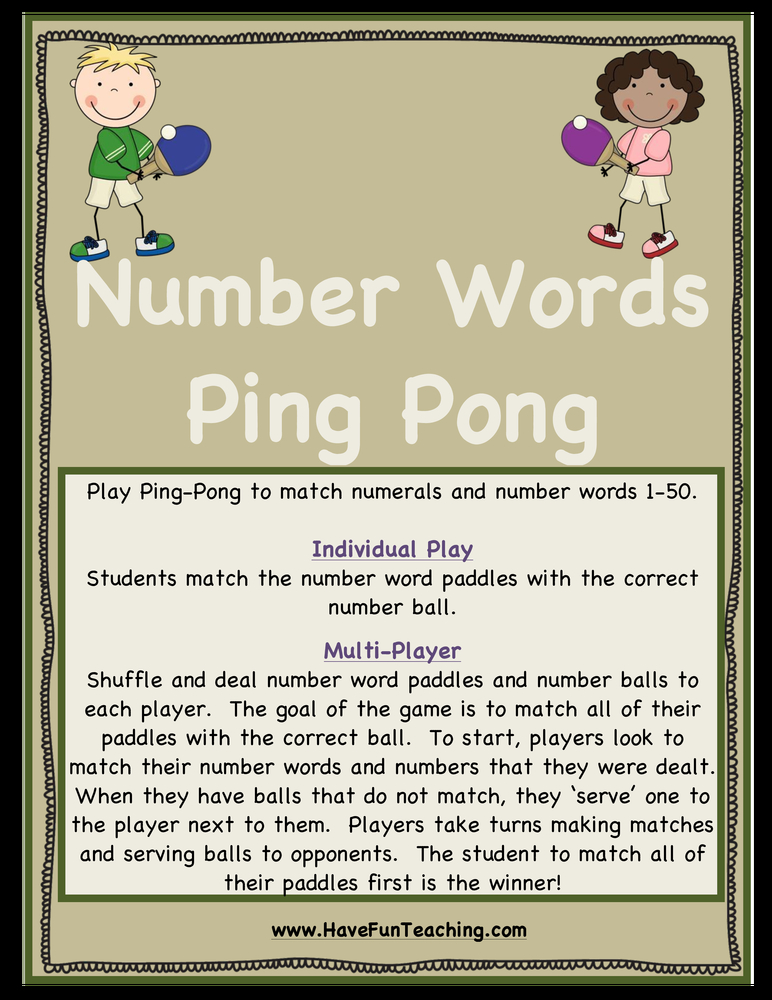 Number Words Ping Pong Activity