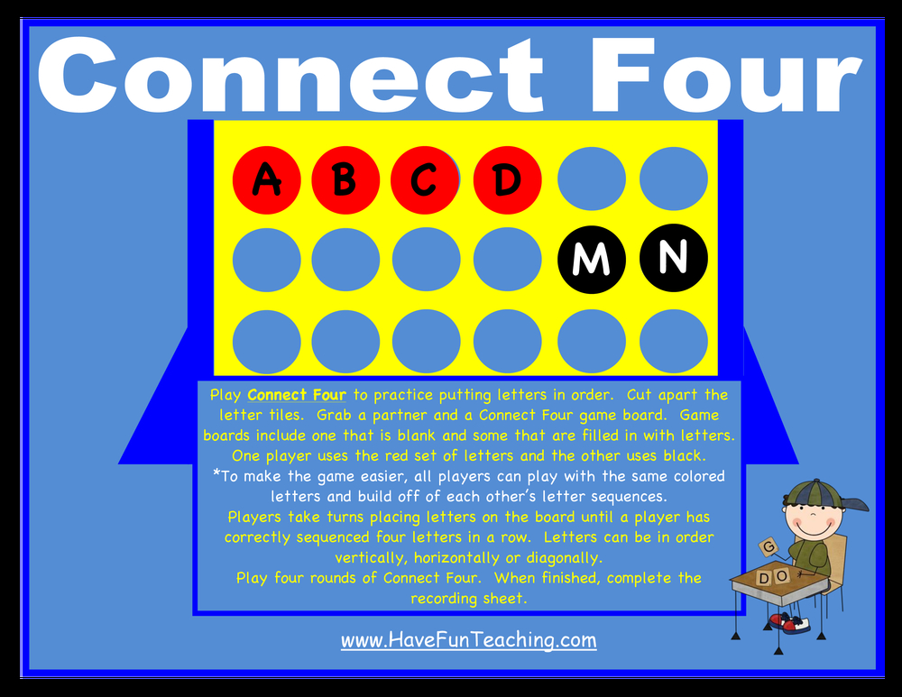 Connect Four Putting Letters in Order Activity