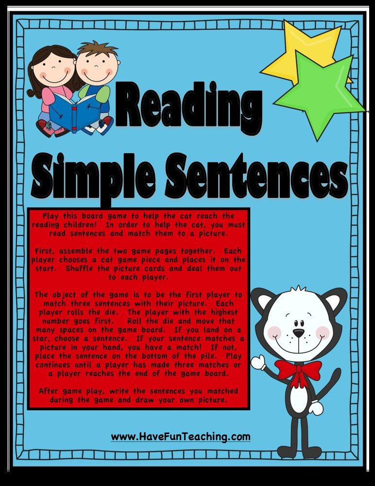 reading simple sentences activity
