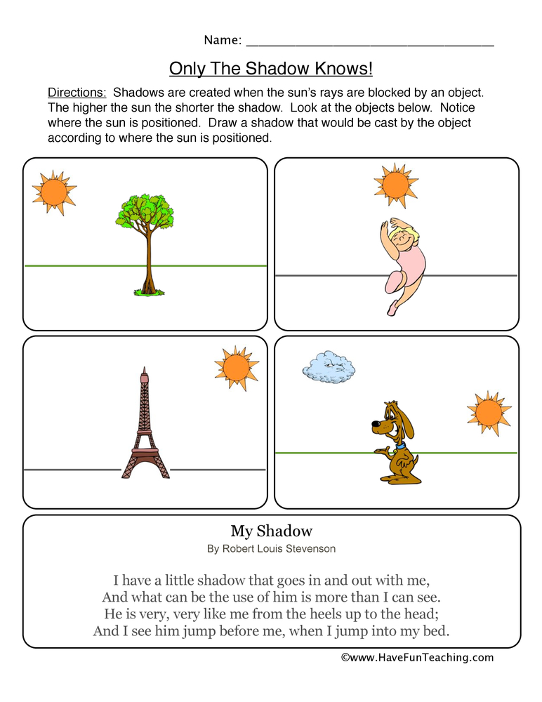 shadows worksheet