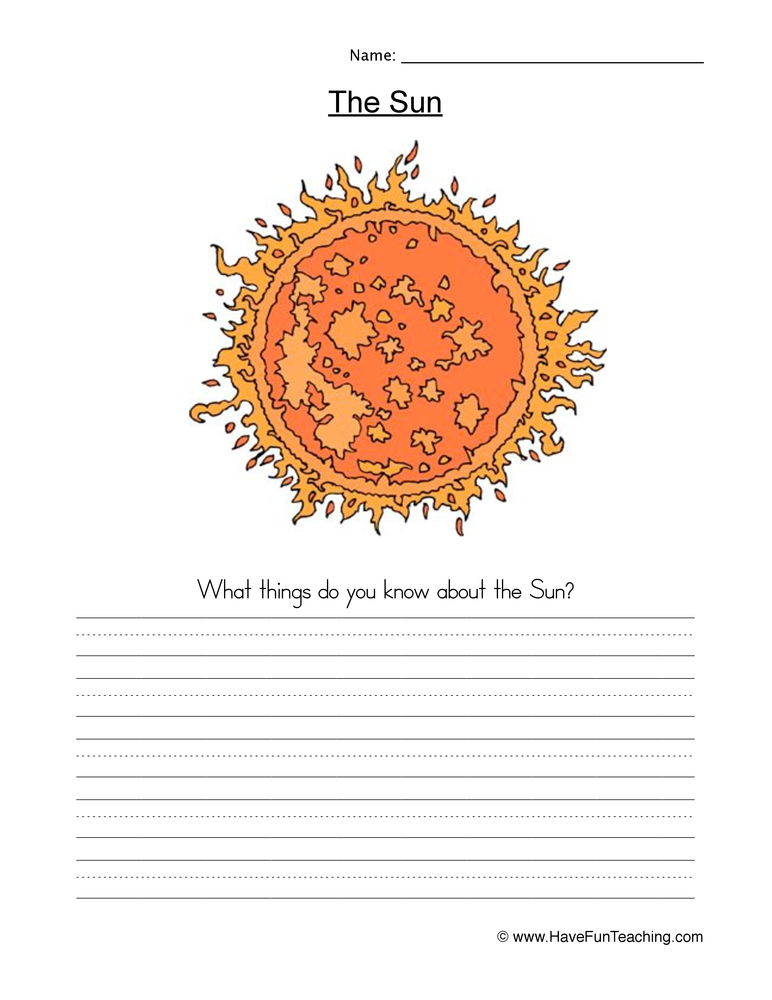 sun worksheet 1