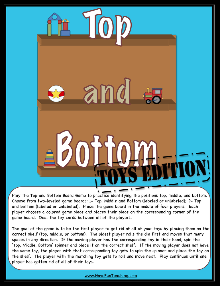 Top and Bottom Toys Edition Opposites Activity Board Game