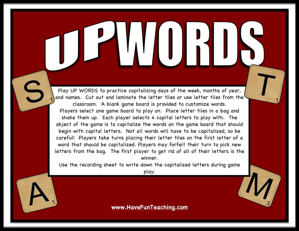 Upwords Capitalizing Words Activity
