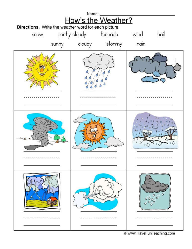 weather names worksheet 1