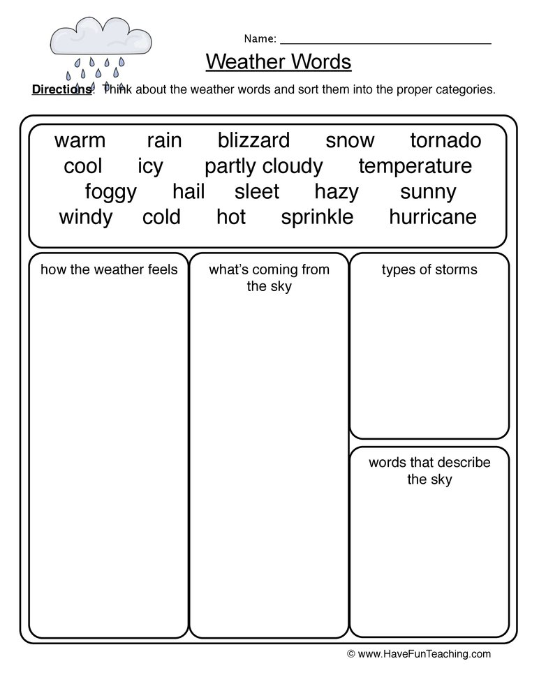 weather words worksheet