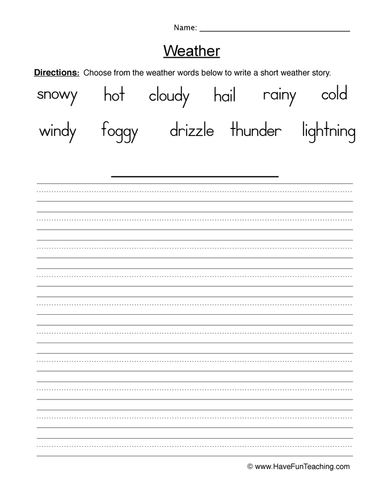 weather worksheet 1