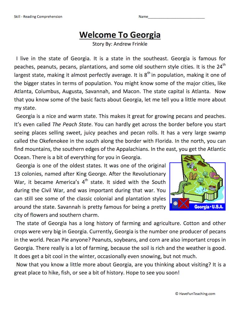 Welcome to Georgia – Reading Comprehension Worksheet
