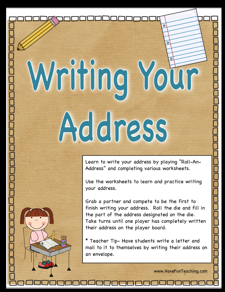 writing your address activity