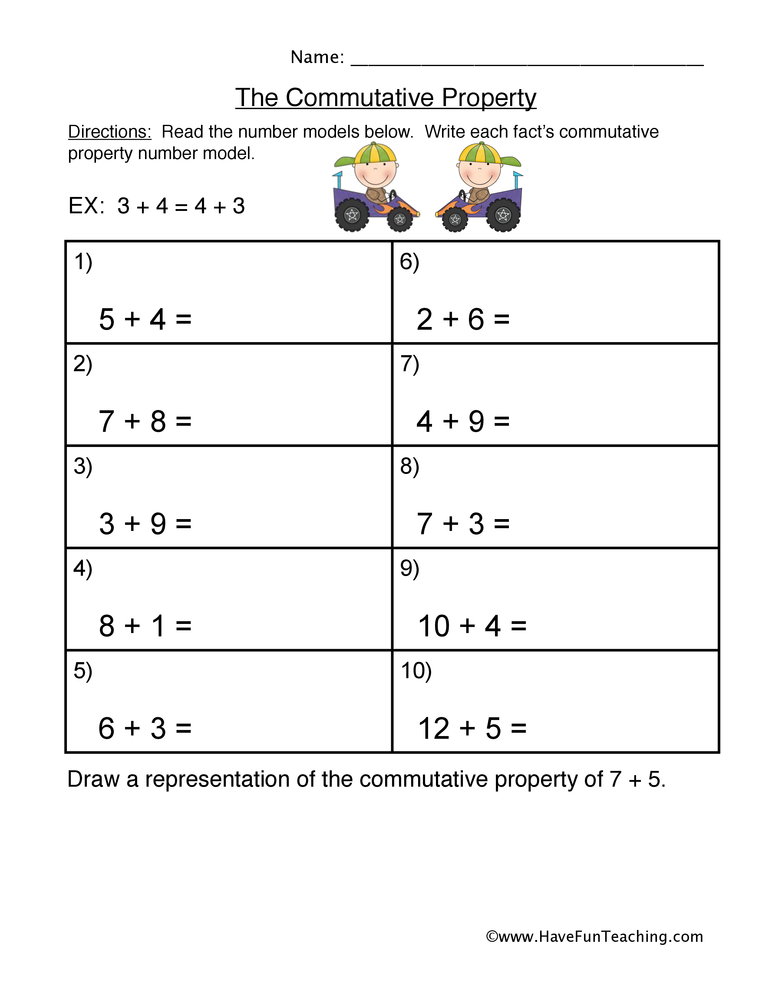 Printables Commutative Property Of Addition Worksheets 3rd Grade commutative property addition worksheet worksheet