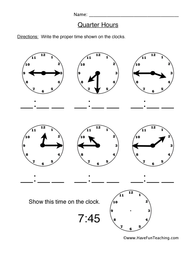count quarter hours worksheet