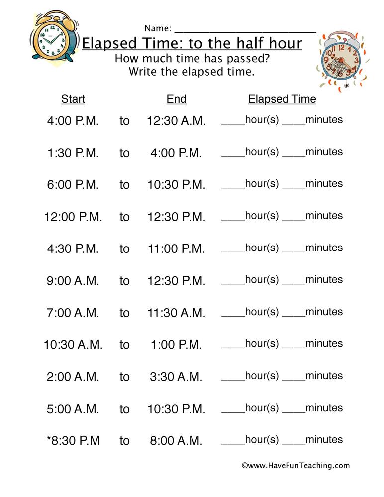 Elapsed Time Half Hour Worksheet 2