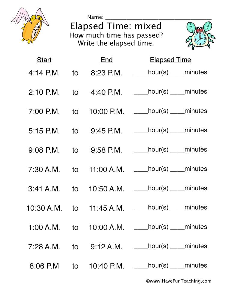 elapsed time mixed worksheet 2