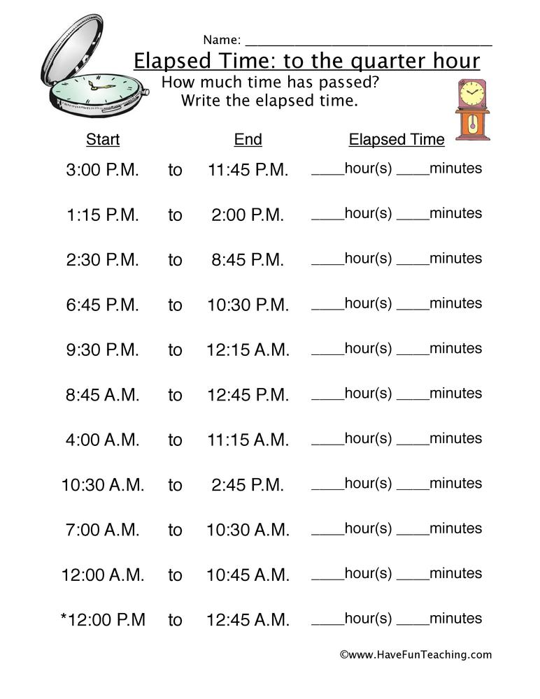 elapsed time quarter hour worksheet 1