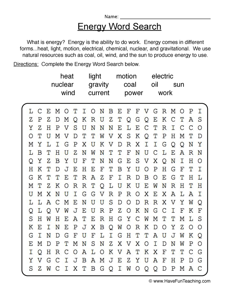 energy wordsearch worksheet have fun teaching. Black Bedroom Furniture Sets. Home Design Ideas