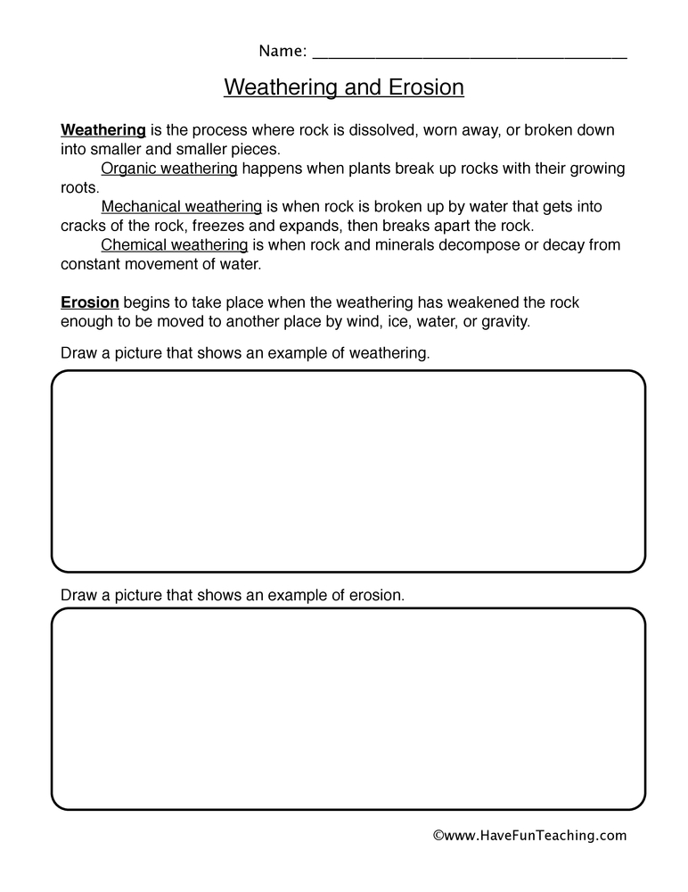 Worksheet Weathering And Erosion Worksheets For Kids erosion worksheet worksheet