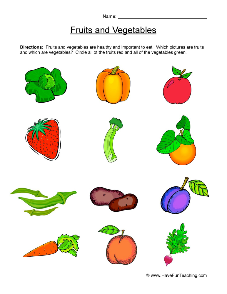 Fruits And Vegetables Worksheet Have Fun Teaching