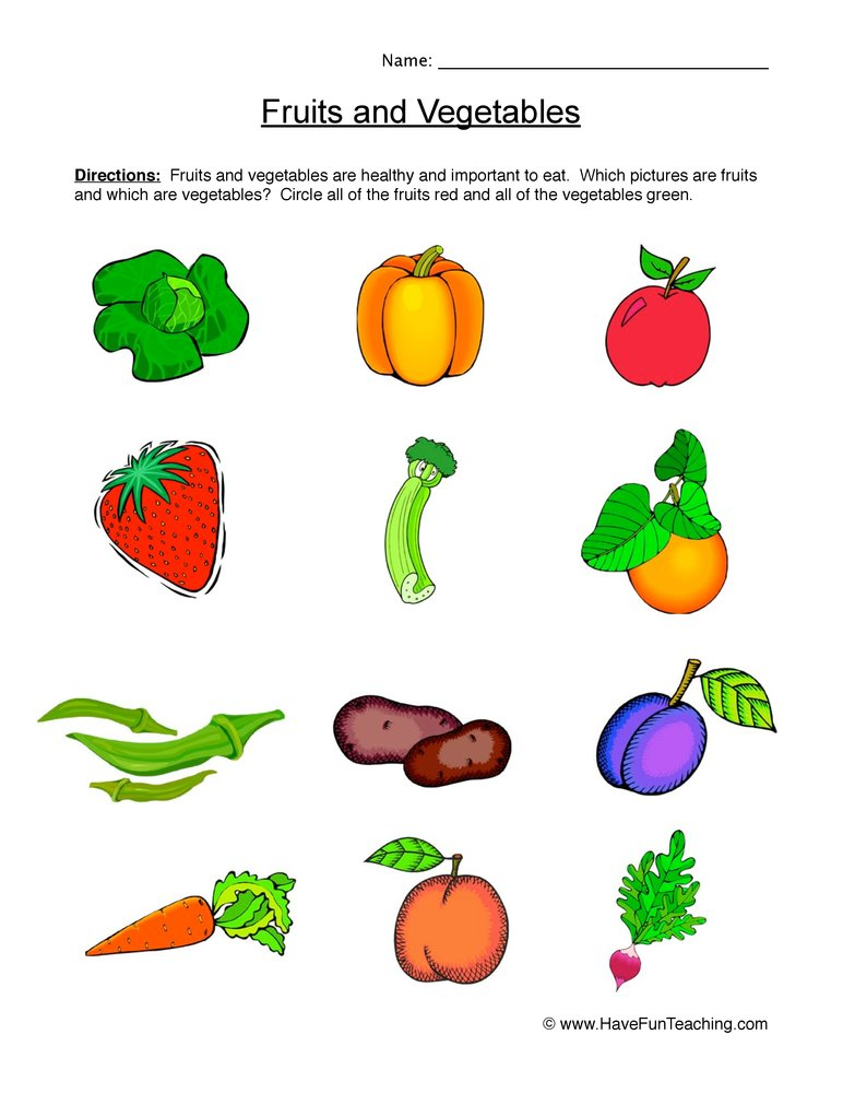 Fruits Vegetables Worksheet on Clean Teeth Worksheet Sorting