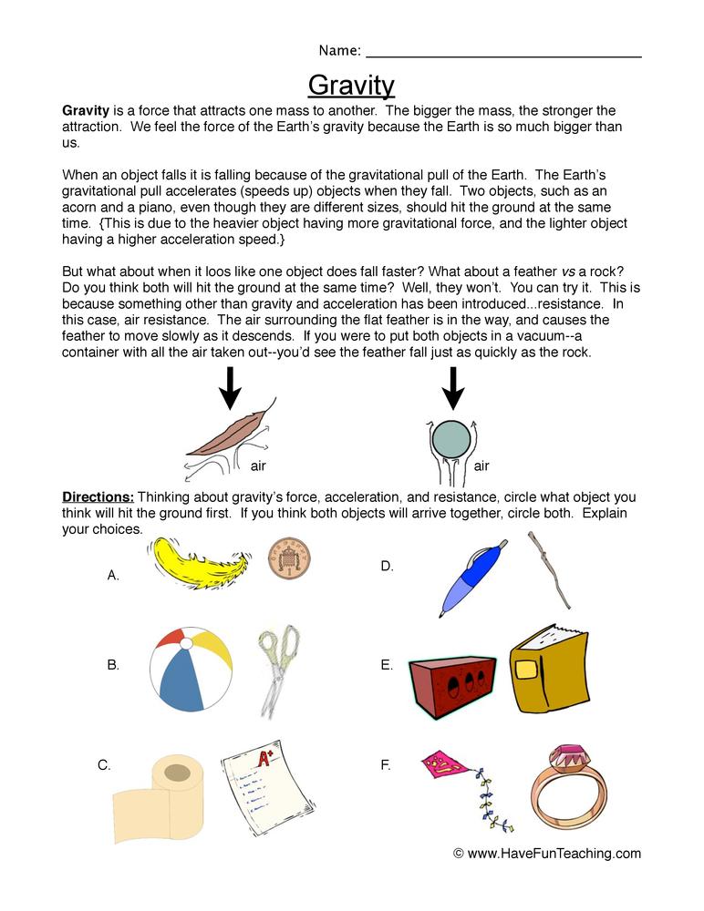 gravity worksheet 2