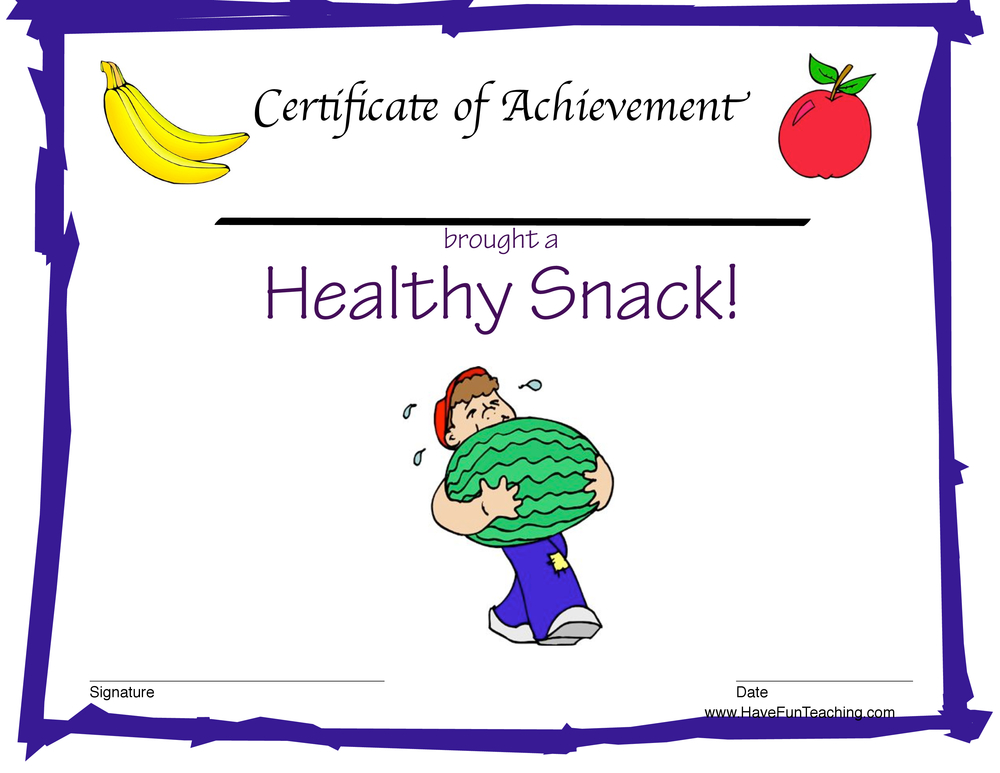 healthy snack boy certificate