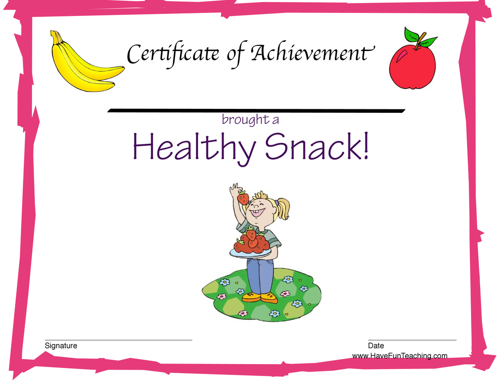 healthy snack girl certificate