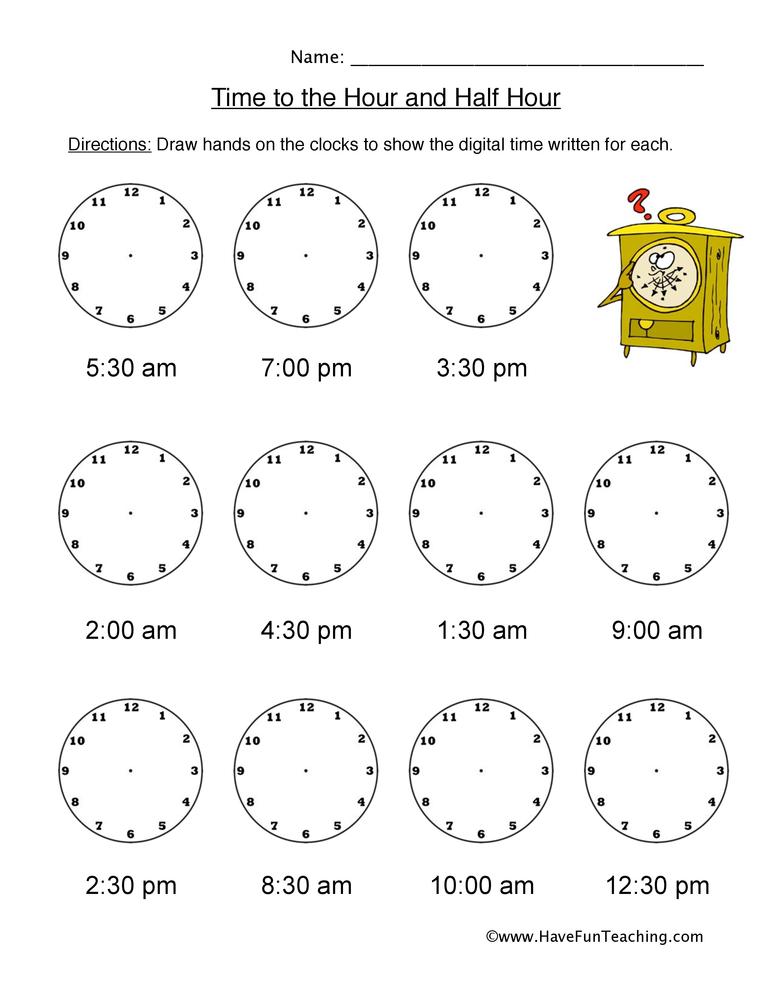 hour half hour time worksheet