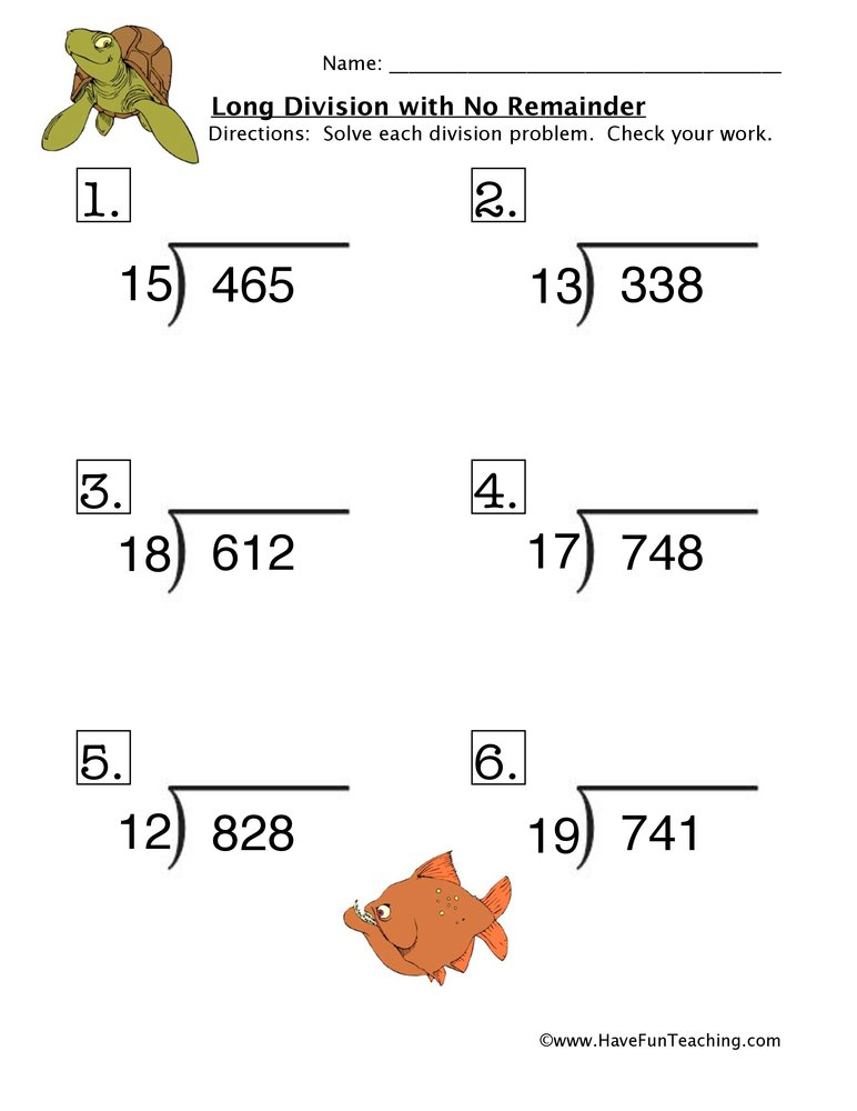 Resources  Math  Division  Worksheets Long Division No Remainder Problems Worksheet