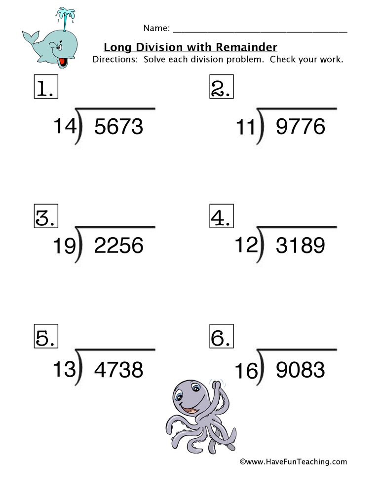 Long Division Remainder Worksheet 2