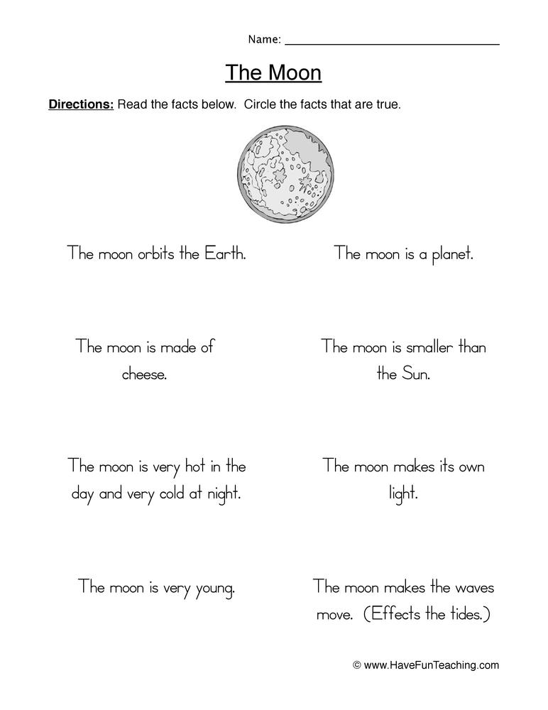 moon worksheet 2