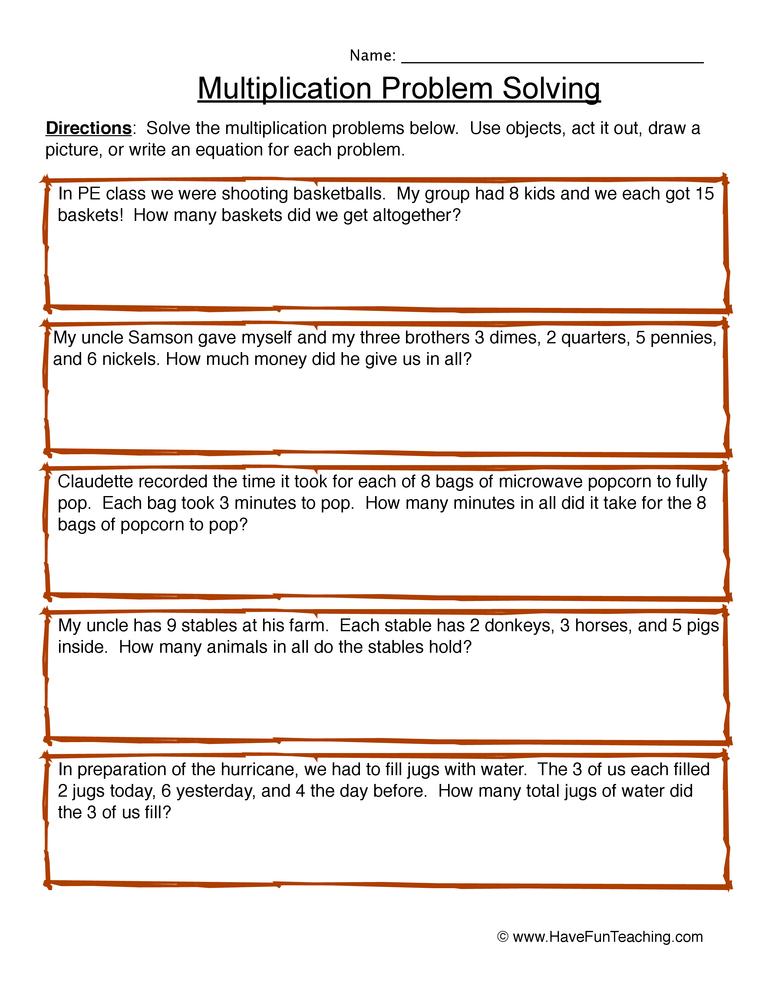 multiplication problem solving-worksheet 3