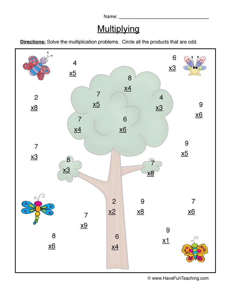 multiplication single worksheet 2