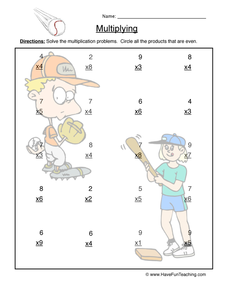 multiplication single worksheet 3
