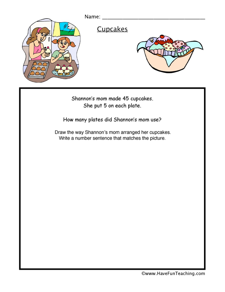 Cupcakes Multiplication Worksheet