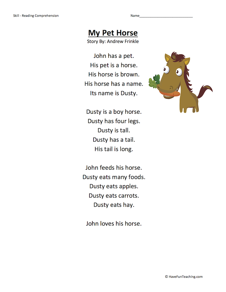 My Pet Horse Reading Comprehension Worksheet • Have Fun ...