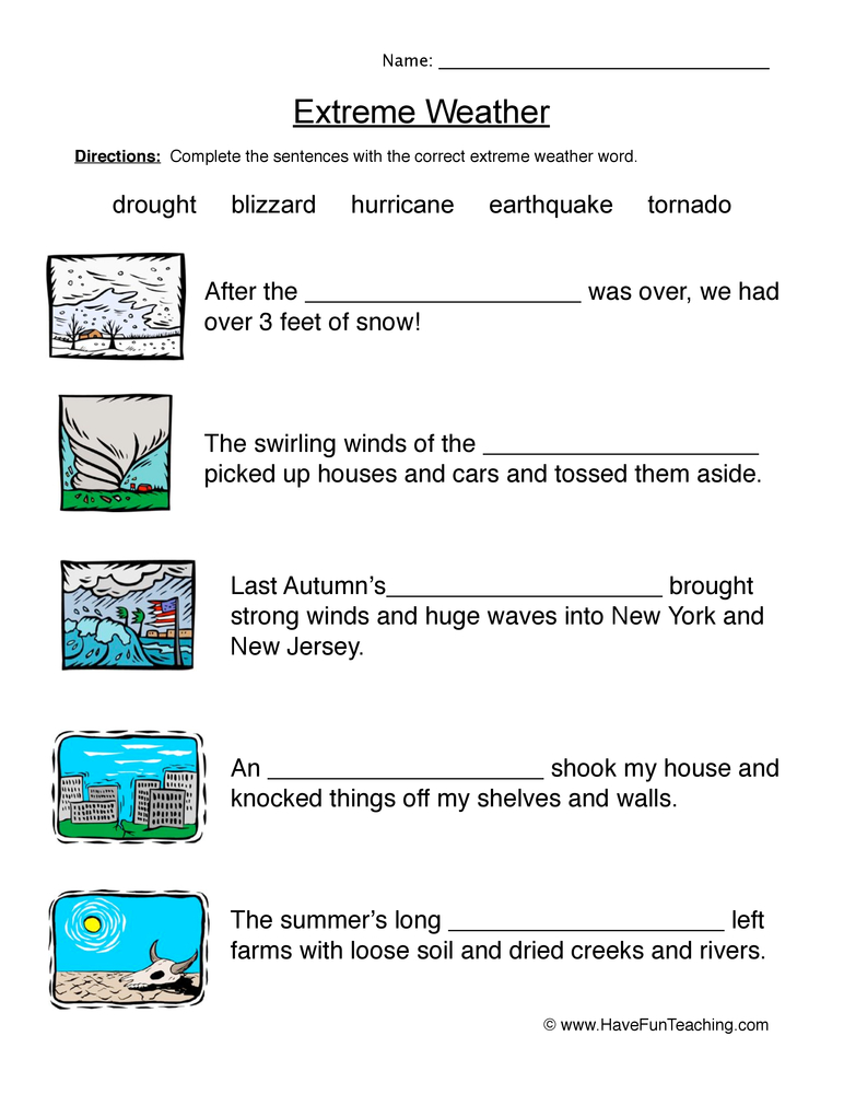 Weather Worksheets – Weather Worksheets