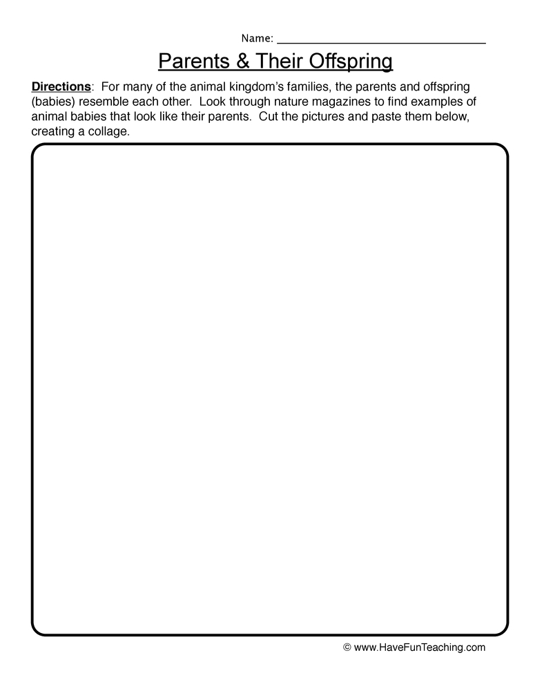 parents offspring worksheet 1