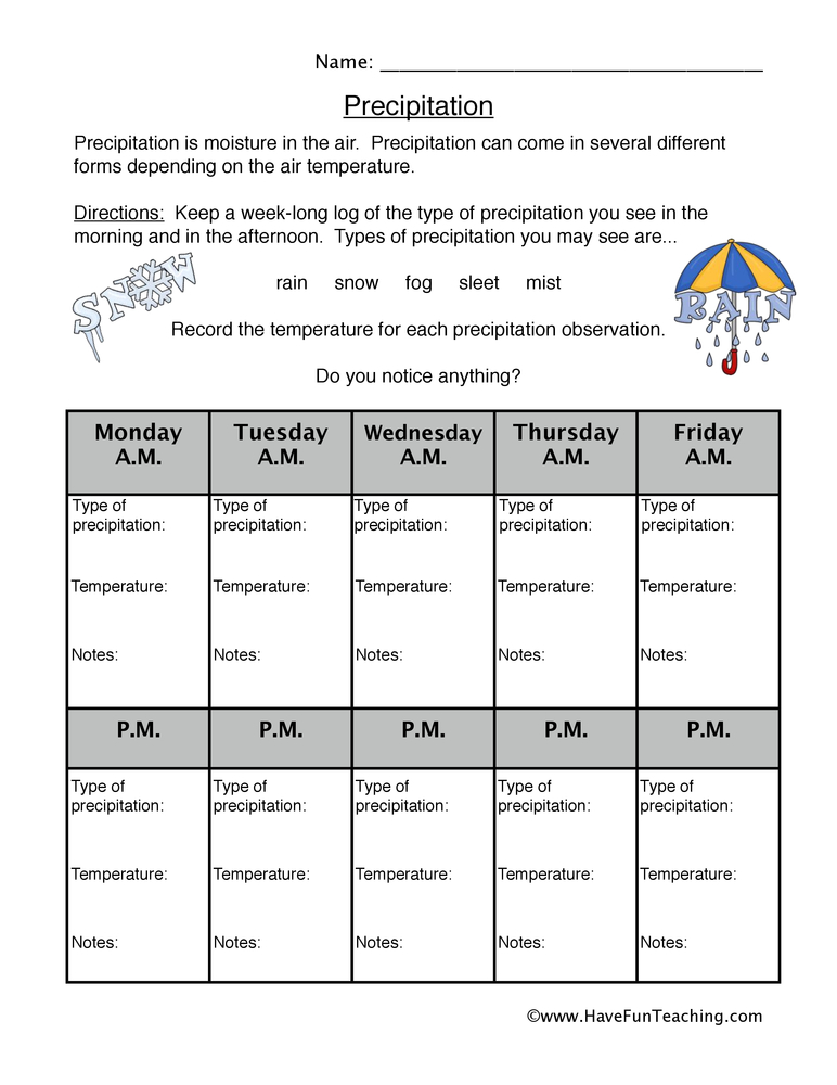 Weather Worksheets – Types of Precipitation Worksheet