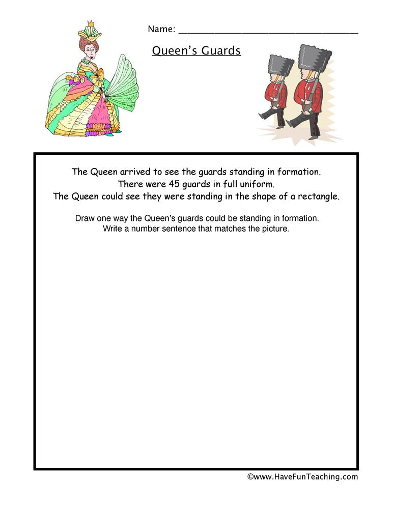 queens guards multiplication worksheet