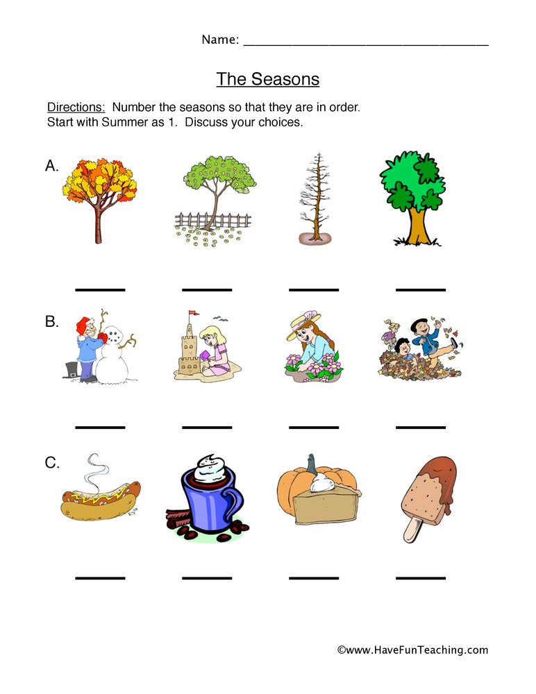 seasonal cycles worksheet