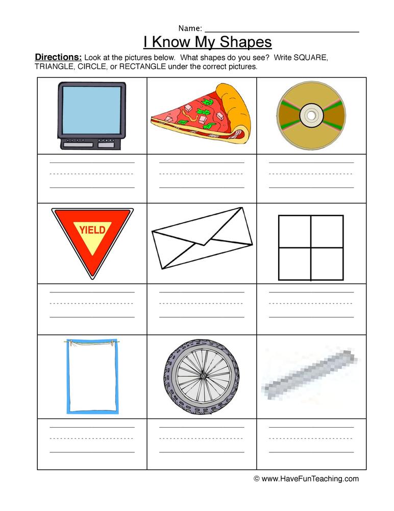 shapes worksheet 1