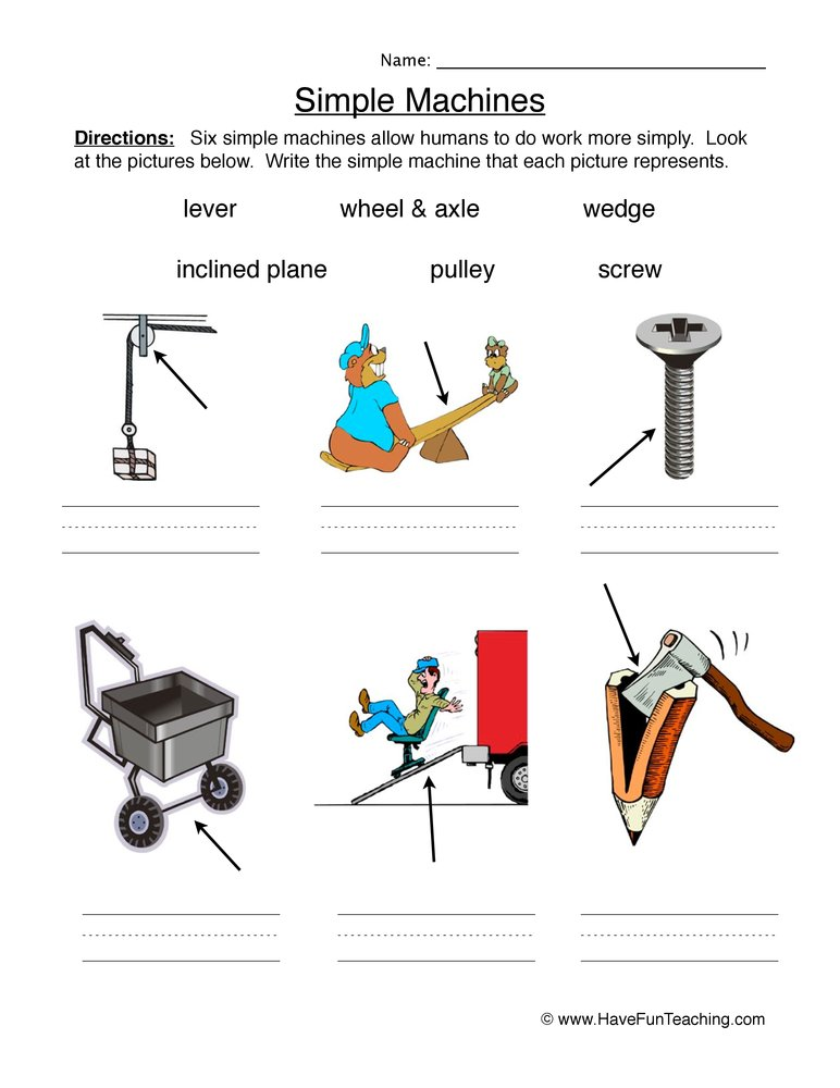 simple machines worksheet 1