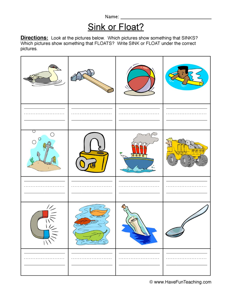 Sink Float Worksheet – Identify