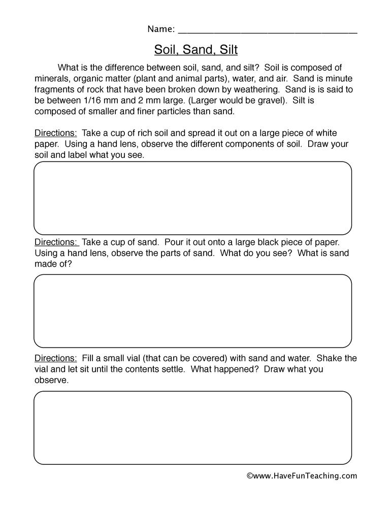 soil sand silt worksheet