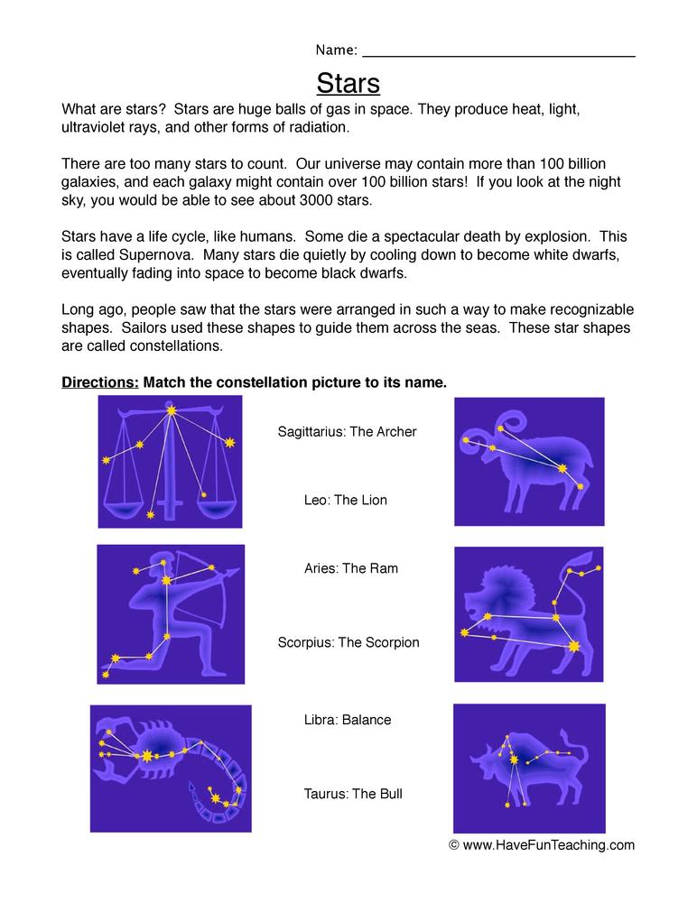 stars worksheet 1