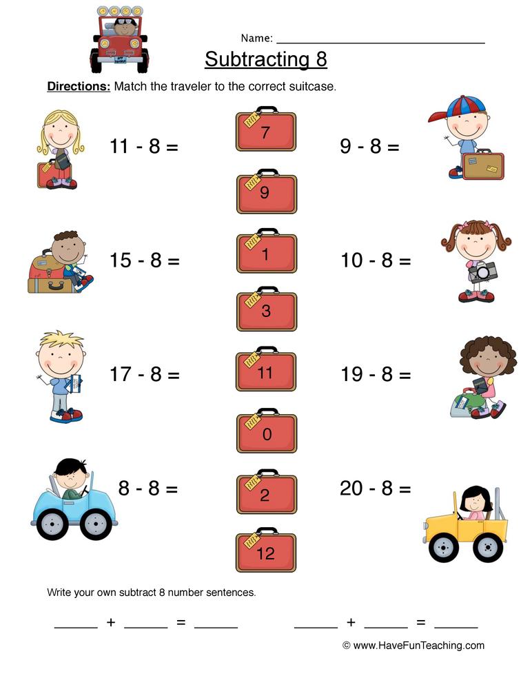 Subtract Eight Matching Worksheet