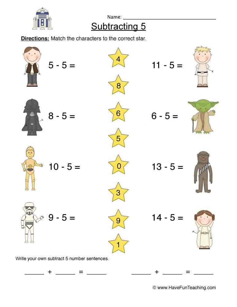 Subtract Five Matching Worksheet