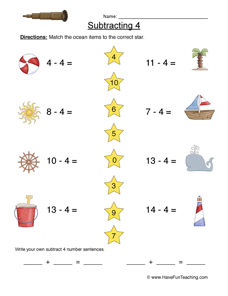 Subtract Four Matching Worksheet