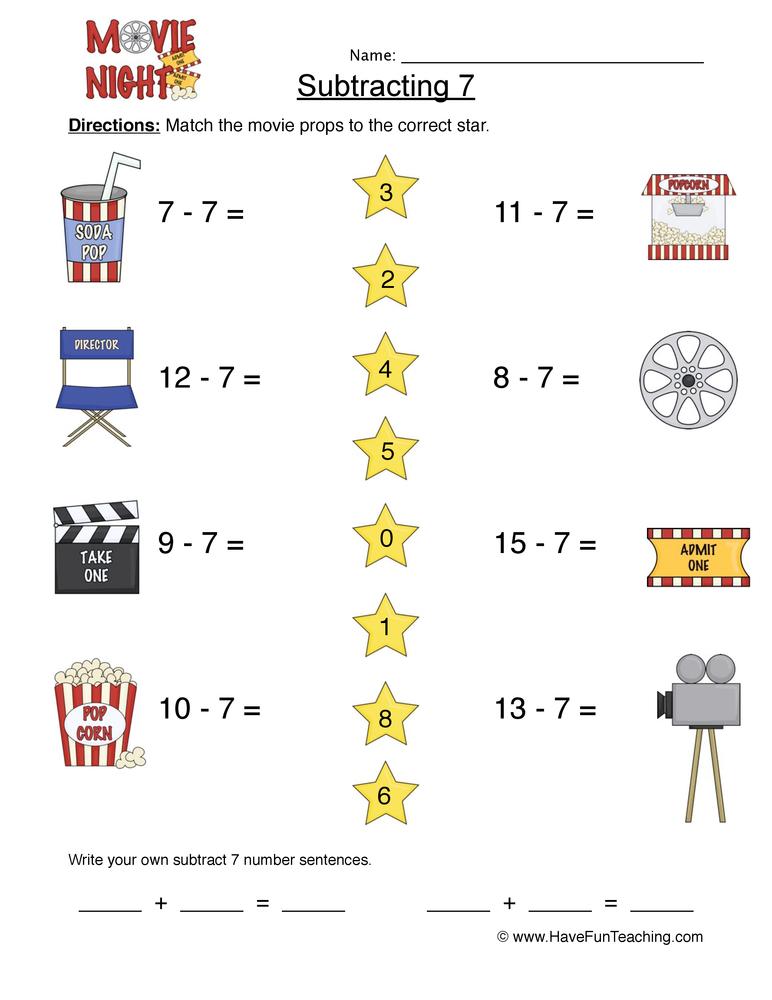 Subtract Seven Matching Worksheet