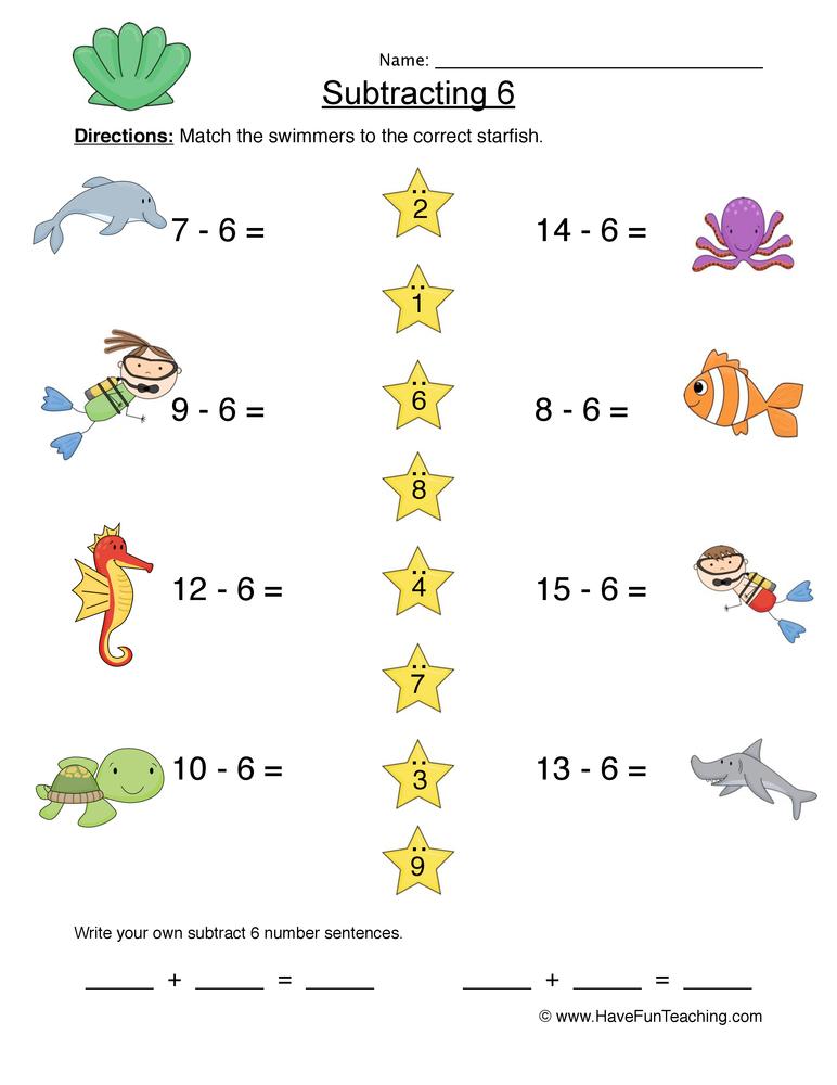 Subtract Six Matching Worksheet